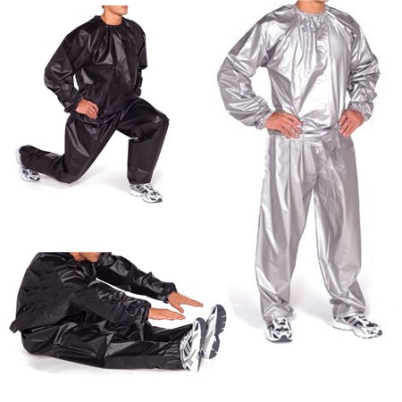 100% PVC Heavy Duty Unisex Fitness Loss Weight Sweat Suit Sauna Yoga Stretch Workout Suit Exercise Gym Size:L-4XL ()