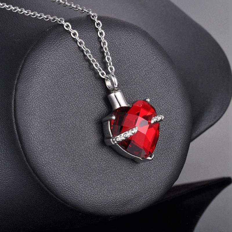 Jan Birthstone Garnet Heart Cremation Jewelry Keepsake Memorial Urn Necklace