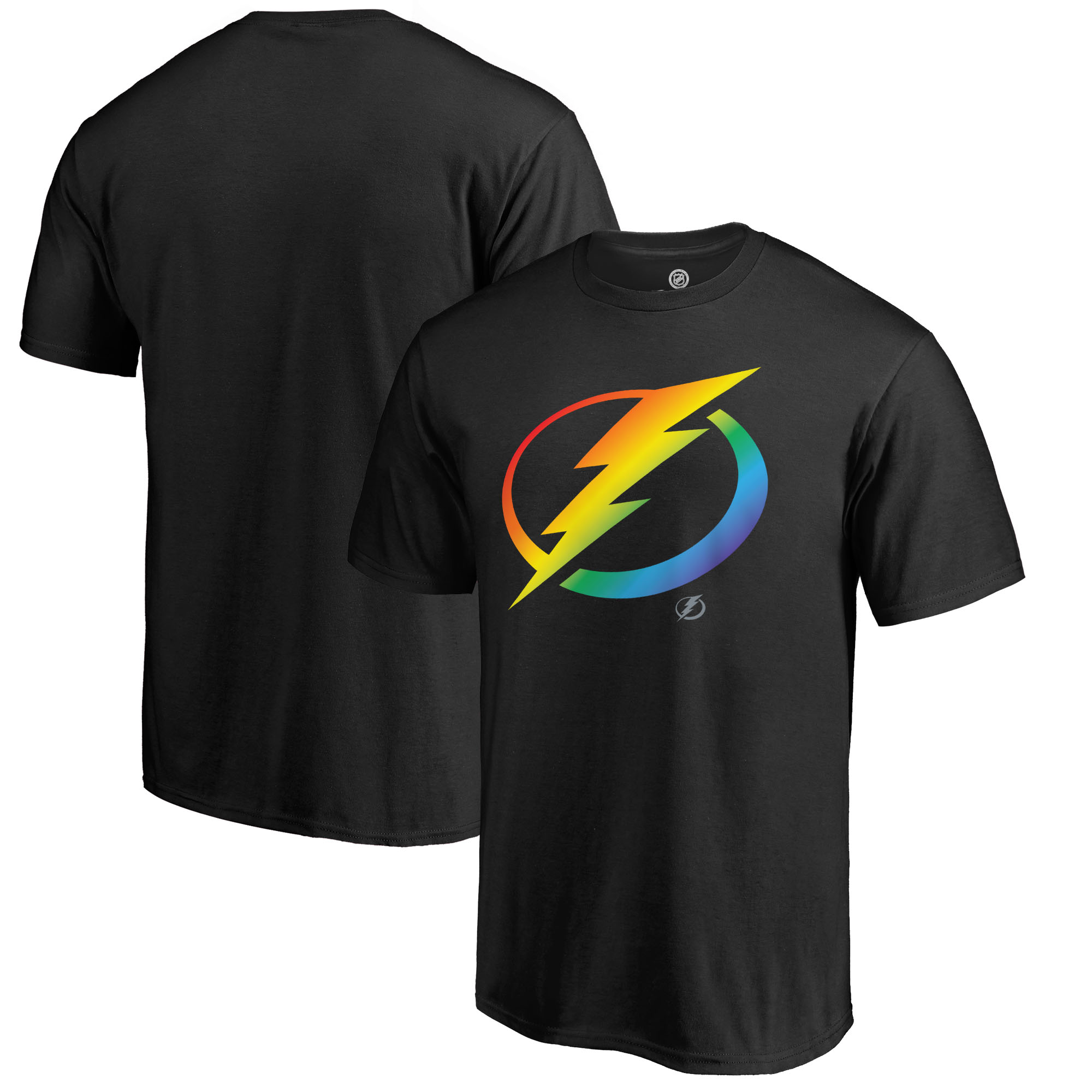 Men's Fanatics Branded Black Tampa Bay Lightning Rainbow Pride Logo T-Shirt