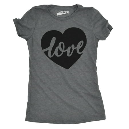 Womens Love Script Heart Cute Valentines Day Relationship T shirt for Ladies - Valentine's Day Tree