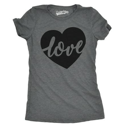 Womens Love Script Heart Cute Relationship T shirt for Ladies