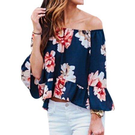 Nlife Women Floral Print Trumpet Sleeve Off Shoulder Tops Shirt Blouse Tee
