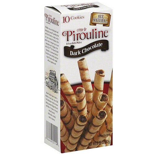 De Beukelaer Creme De Pirouline Dark Chocolate Cookies, 10ct (Pack of 12)