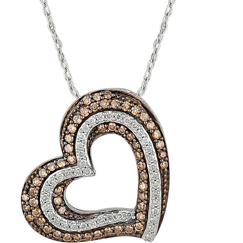 1/2 Carat T.W. Champagne and White Diamond 10kt White Gold Filigree Heart Pendant