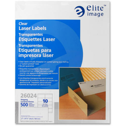 "Elite Image Clear 2"" x 4.25"" Laser Shipping Labels"