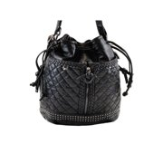Girls Black Quilted Studded Zipper Faux Leather Bouquet Backpack