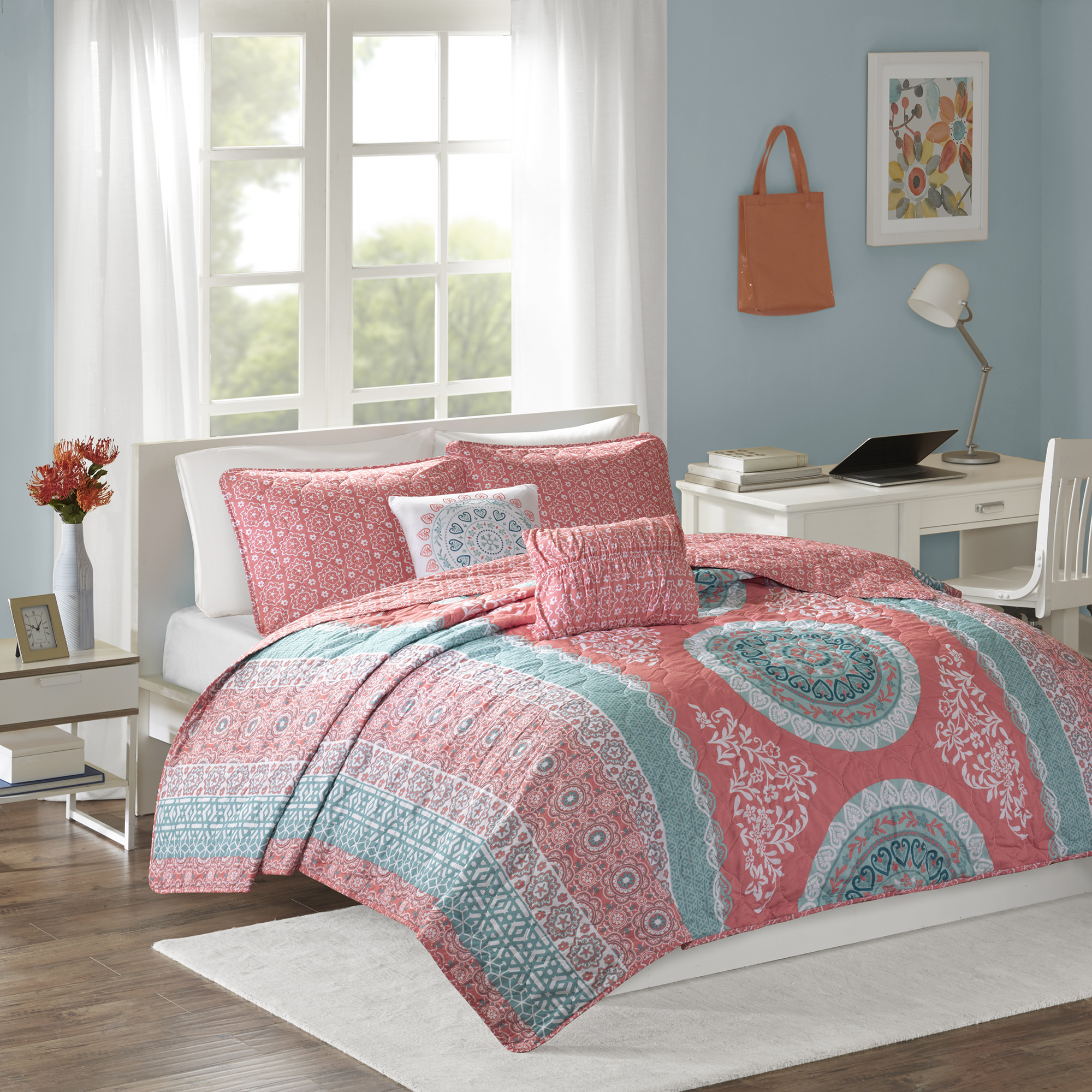Home Essence Apartment Blaire Quilted Reversible Coverlet Set
