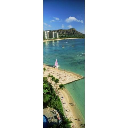 Aerial view of a beach Diamond Head Waikiki Beach Oahu Honolulu Hawaii USA Stretched Canvas - Panoramic Images (36 x 12)
