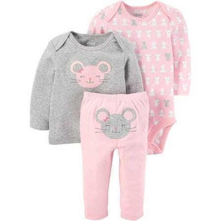 2f504279f Child of Mine by Carter's - Newborn Baby Girl Long Sleeve Shirt, Bodysuit,  and Pants Set - Walmart.com