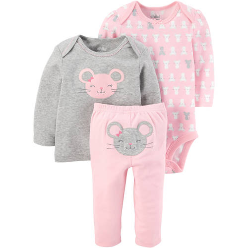 Baby Girl Long Sleeve Shirt, Bodysuit, and Pants, 3pc Outfit Set