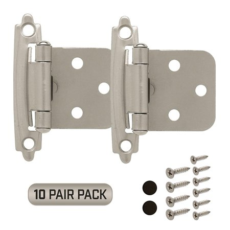 Cabinet Door Hinges 10 Pair Pack (20 Pieces) Self Closing Face Mount Overlay, Satin Nickel