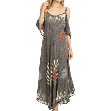 Stone Dress Clip - Sakkas Renata Women's Cold Shoulder Maxi Caftan Dress Sundress Flare Stonewashed - Black - One Size Regular