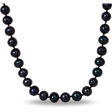 10mm Black Cultured Freshwater Pearl Brass Strand Necklace, - Strand Black Leather Toggle Necklace