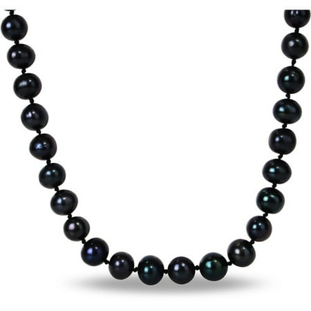 - 10mm Black Cultured Freshwater Pearl Brass Strand Necklace, 18