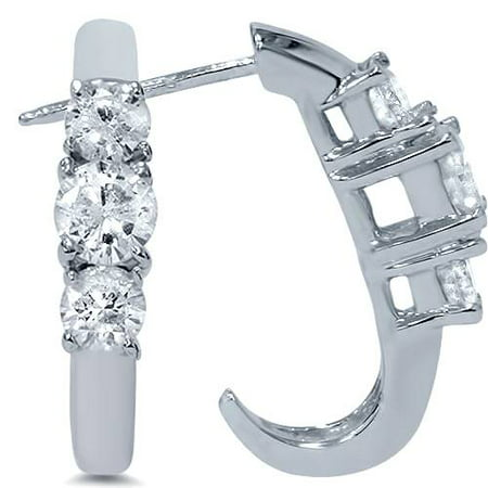 1ct Three Stone Diamond White Gold Earrings 14K - image 3 of 3