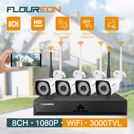 FLOUREON HD1080P Wireless Security Camera System, CCTV Indoor / Outdoor Security Camera System for Home Surveillance, Auto Cascading 8 Channel NVR Recorder Kit 4x1080p Night Vision