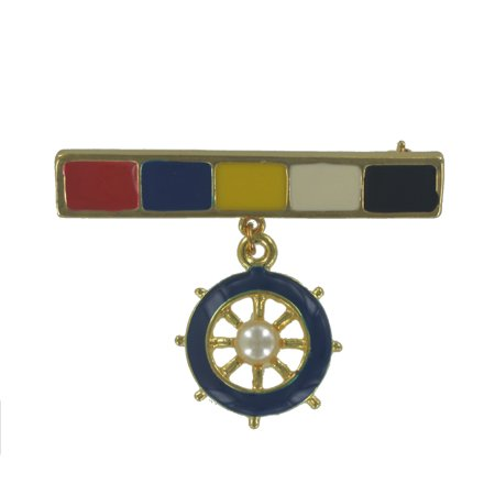 Nautical Blue Red Yellow Black Captains Wheel Charm Bar Pin Brooch Captains Wheel Charm