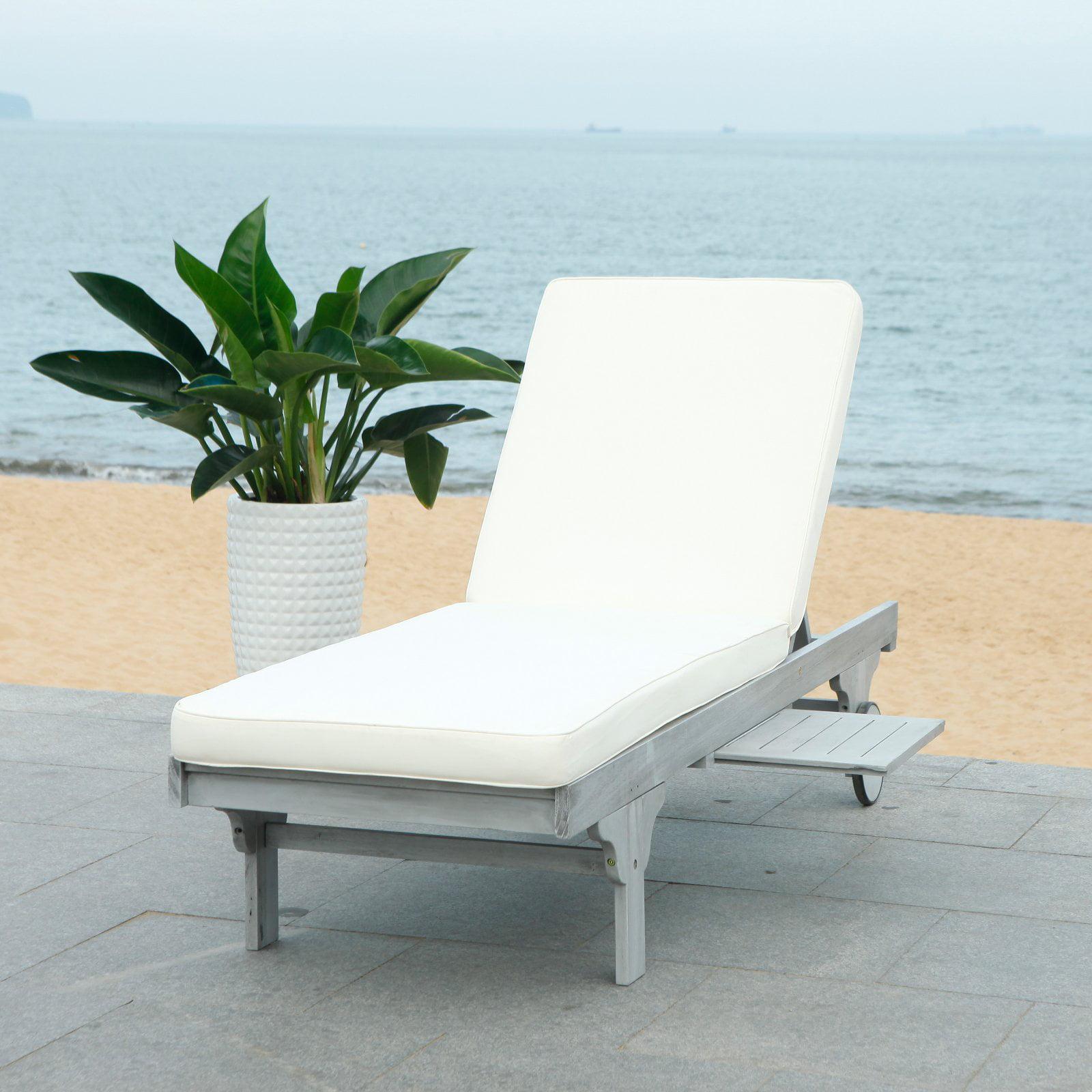 633d2bd2fdf Safavieh Newport Outdoor Modern Chaise Lounge Chair with Cushion -  Walmart.com