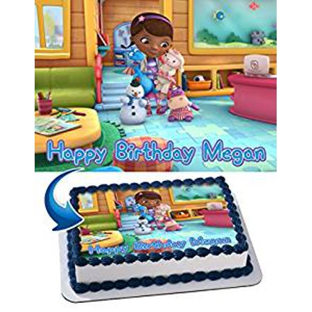 Doc McStuffins Birthday Cake Personalized Cake Toppers Edible Frosting Photo Icing Sugar Paper A4 Sheet 1/4 Edible Image for cake for $<!---->