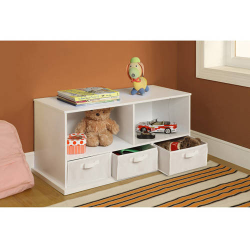 Badger Basket Shelf Storage Cubby with 3 Baskets, Multiple Colors