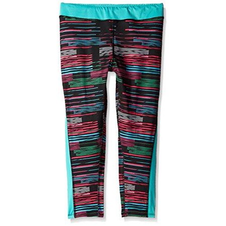 Puma Stretch Leggings - Puma Kids / Youth Girls Stripe Printed Capri Leggings, Black Stripe Glitch Print