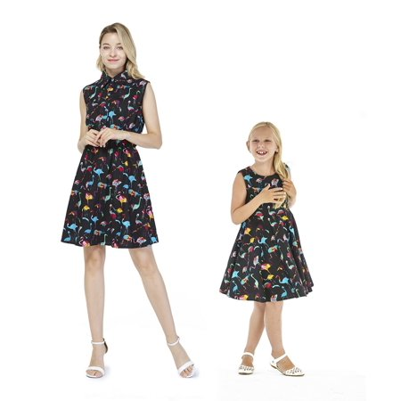 Matching Hawaiian Luau Mother Daughter Shirt Dress and Vintage Dress in Flamingo Party Black M-12