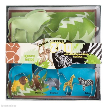 Fox Run 5 Piece Zoo Animal Cookie Cutter Set Lion Monkey Giraffe Elephant Zebra ()