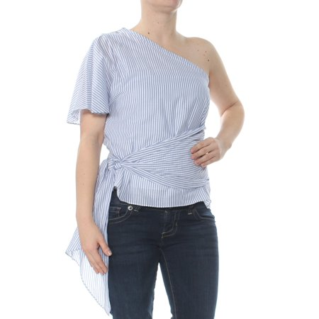 1. STATE Womens Blue Striped One Shoulder Self Tie Waist Short Sleeve Asymmetrical Neckline Top  Size: S