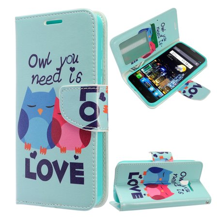 Zizo Design Wallet Case Pouch For Alcatel Idol 4 TPU Inside Cover IDs Credit Card Holder