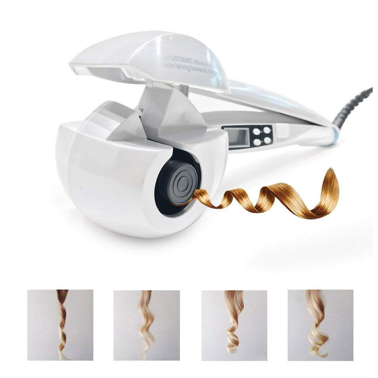 Hair Curler,Professional LCD Automatic with Ceramic Curler Machine By S-power (White) on Clearance