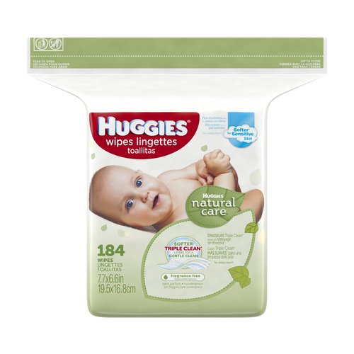 HUGGIES Natural Care Baby Wipes, Refill, Unscented, Hypoallergenic, Aloe and Vitamin E, 184 Wipes