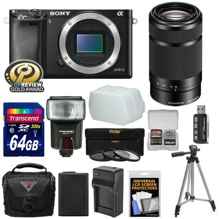 Sony Alpha A6000 Wi-Fi Digital Camera Body (Black) with 55-210mm Lens + 64GB Card + Flash + Case + Tripod + Battery & Charger + Kit