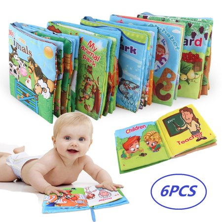 Magicfly 6pcs Educational Baby Soft Cloth Books, Great Gifts for Babies Boys