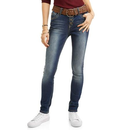 - Wallflower Juniors' Embellished Back Pocket Ankle Jeans with Braided Belt