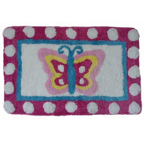 Homewear Linens Butterfly Dots Rectangle Bath Rug