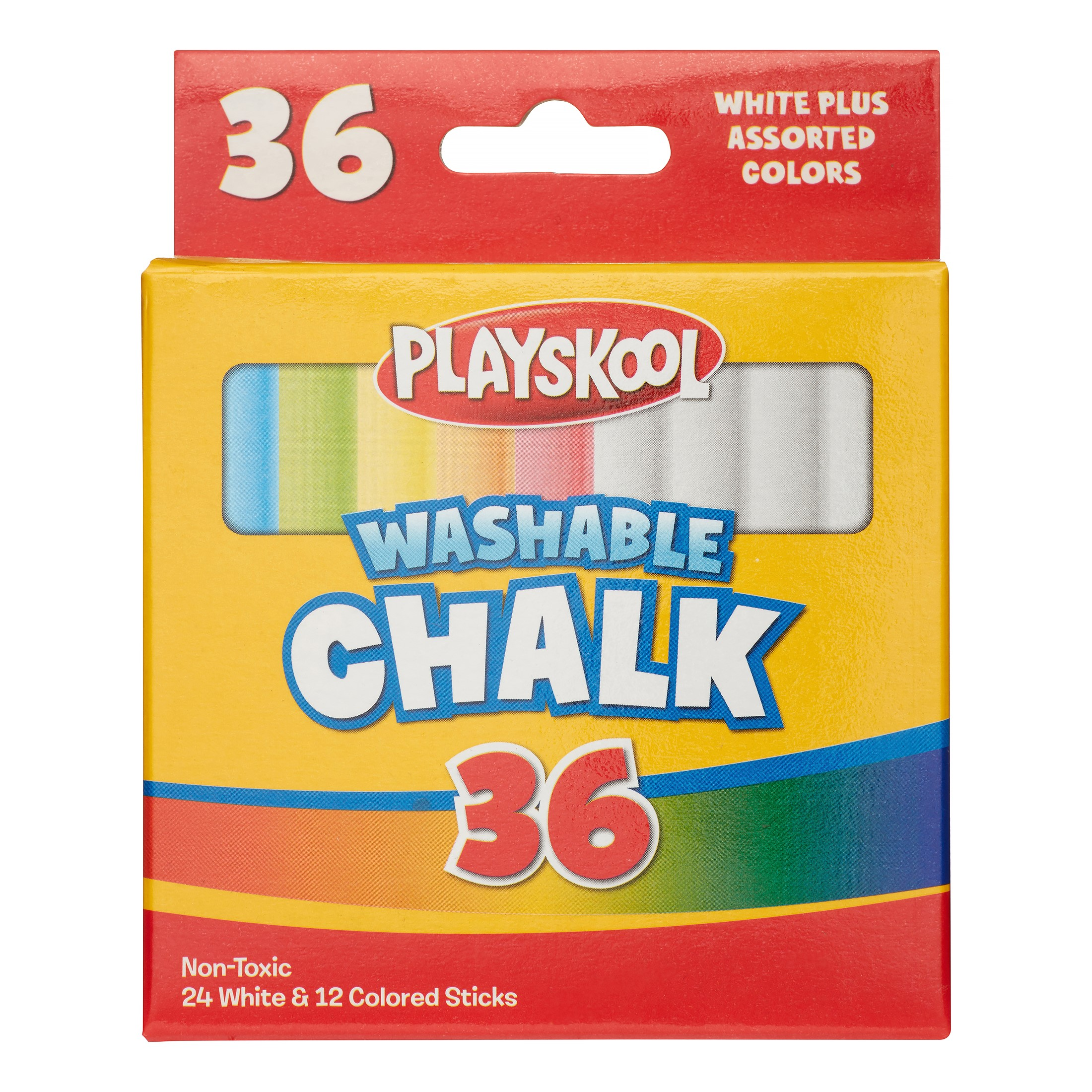 Playskool Washable Chalk, White And Assorted Colors, 36 Ct
