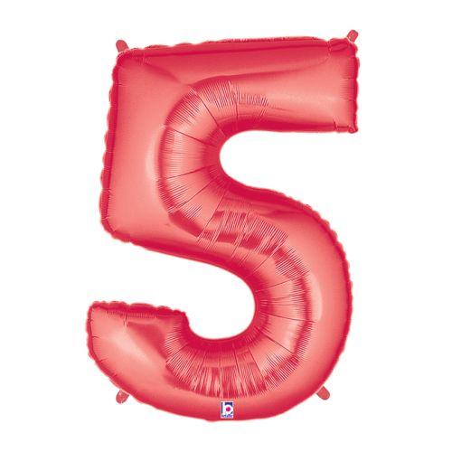 "Burton & Burton 40"" Number 5 Shape Red Balloon"