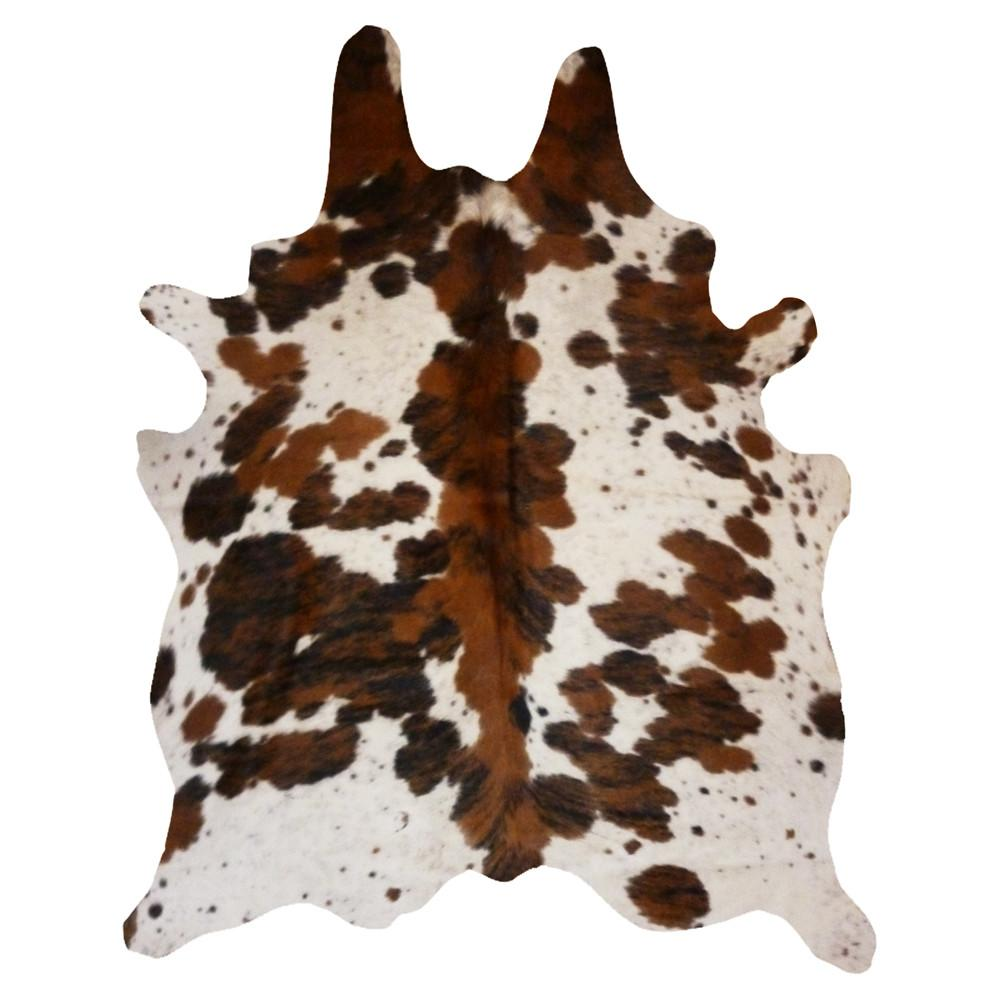 Spine Tricolor Real Cowhide Leather Rug 6' x 7' Browns & Off White