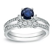 Auriya  Round 1/2ct Sapphire and 1/2ct TDW 3-Stone Diamond Engagement Ring Set 14k Gold