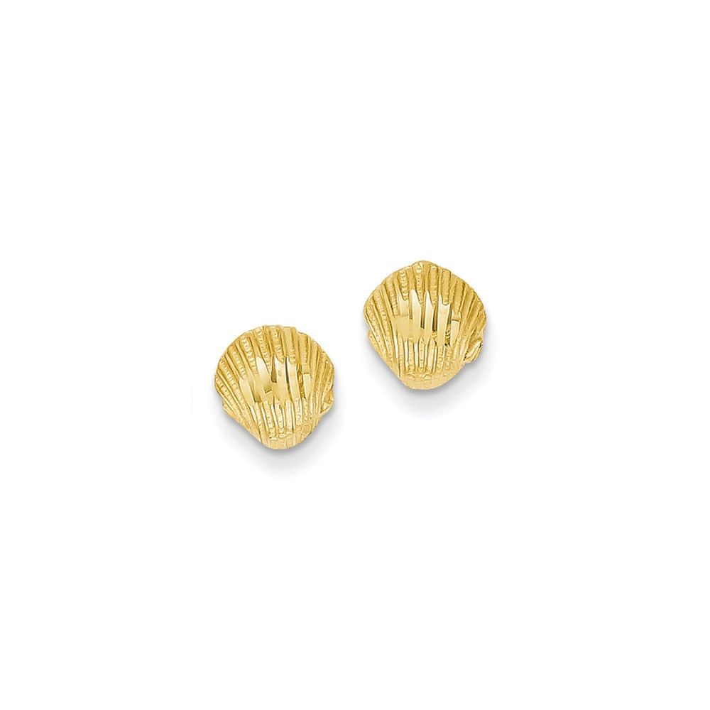 14k Yellow Gold D/C Shell Post Earrings (8MM)