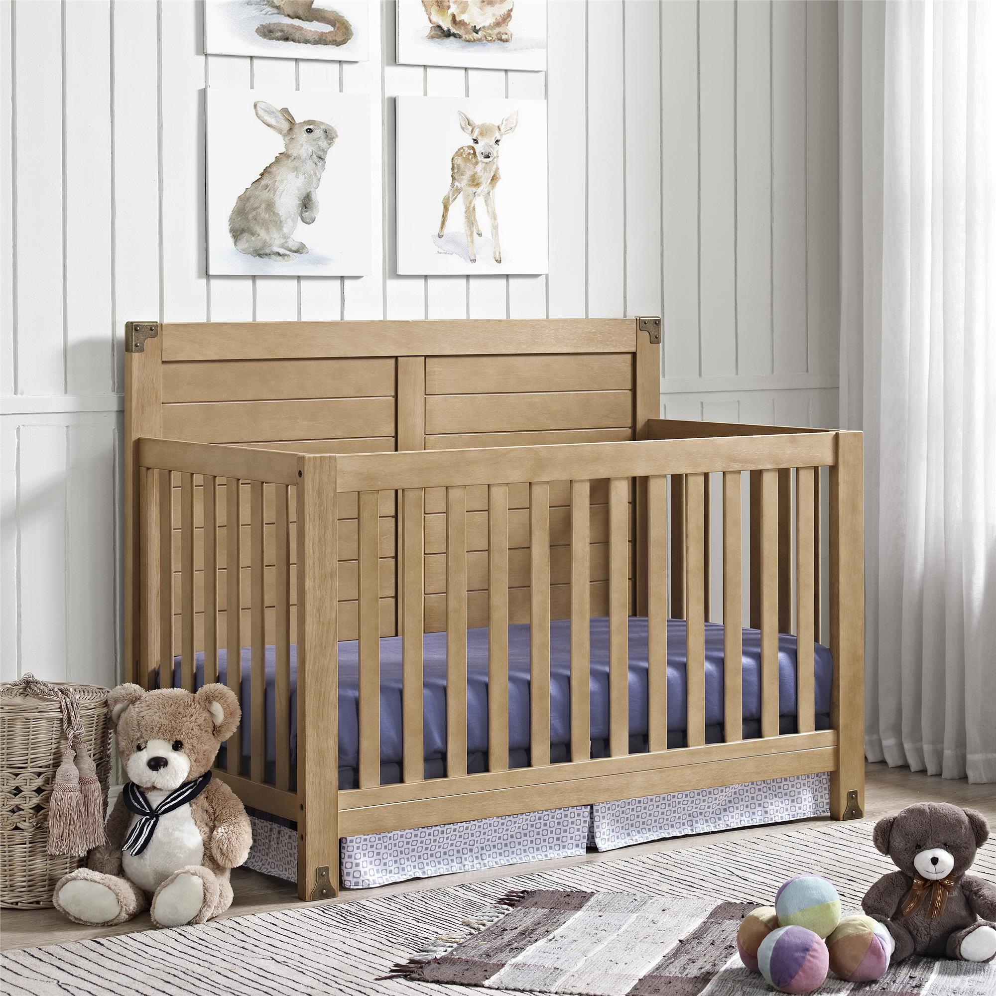 Baby Relax Ridgeline 4-in-1 Convertible Crib, Rustic Natural