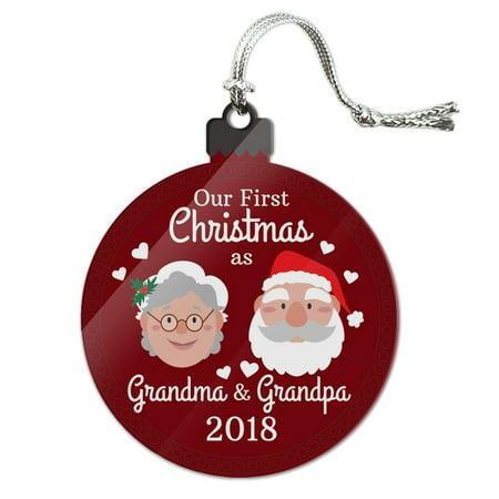 Grandma Santa - First Christmas as Grandma Grandpa 2018 Santa Mrs. Claus Acrylic Christmas Tree Holiday Ornament