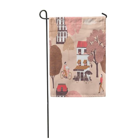 LADDKE Bicycle People Surrounded by Houses and Trees Village Woman Architecture Autumn Garden Flag Decorative Flag House Banner 28x40 inch