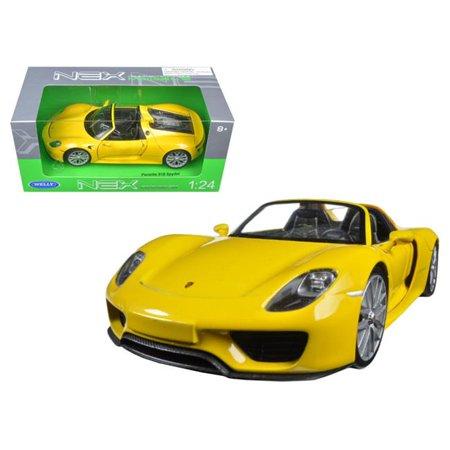 Porsche 918 Spyder Yellow Open Roof 1/24 Diecast Model Car by (Porsche 918 Spyder Liquid Metal Chrome Blue)