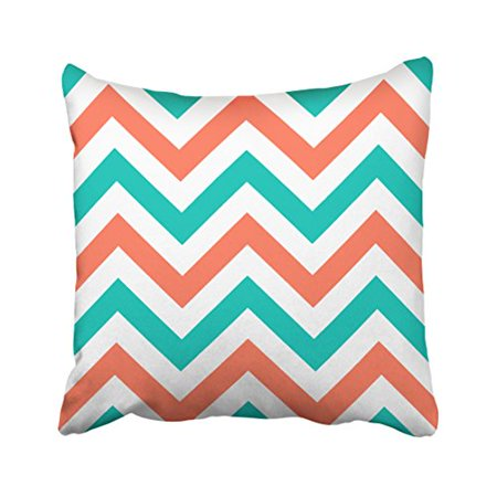 Crazy Alice (WinHome Decorative Crazy Lady Throw Pillowcase Coral Teal White Large Chevron Zigzag Pattern Pillow Size 18x18 inches Two)