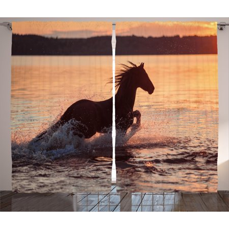 - Equestrian Curtains 2 Panels Set, Horse Sea at Sunset Time Horizon Speed Exotic Nature Animal Picture Art, Window Drapes for Living Room Bedroom, 108W X 63L Inches, Salmon Dark Brown, by Ambesonne