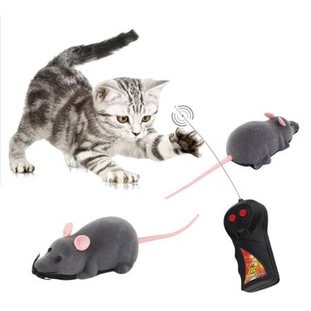 Jeobest 1PC Remote Control Toys for Cats - Remote Control Cat Toy Rat Mouse Funny Cute Wireless Controlled MZ(Gray with nude