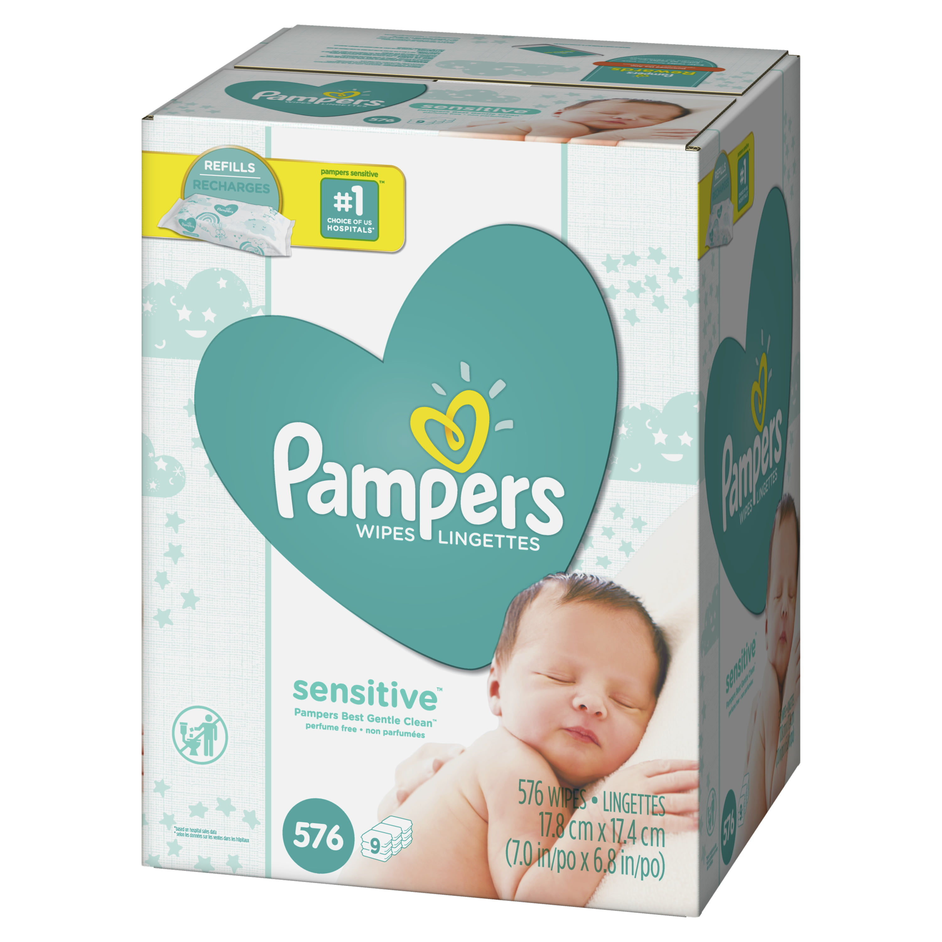 Pampers Sensitive Wipes Tub 64 Each Pack of 2