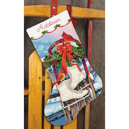 Ice Skates Stocking Needlepoint Kit, 16