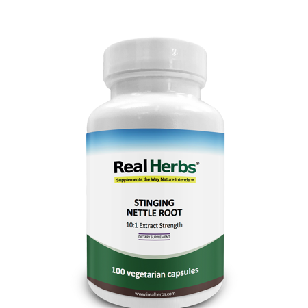 Real Herbs Stinging Nettle Root 10:1 Pure Extract 750mg (Equivalent to 7500mg of Raw Stinging Nettle Root) - 100 Vegetarian (Capsules Pure Herbs)